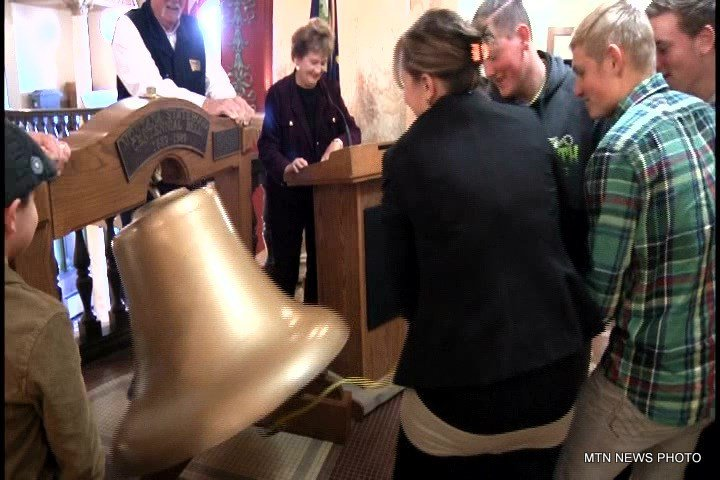 Her students struck the centennial bell for 60 seconds at 10:40 a.m, the exact minute that Montana became the 41st state 127 years ago.