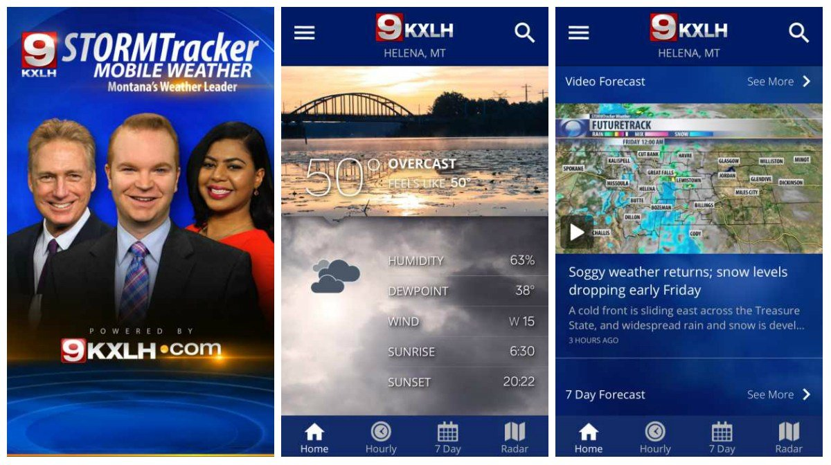 Screenshots from the new KXLH STORMTracker Weather App