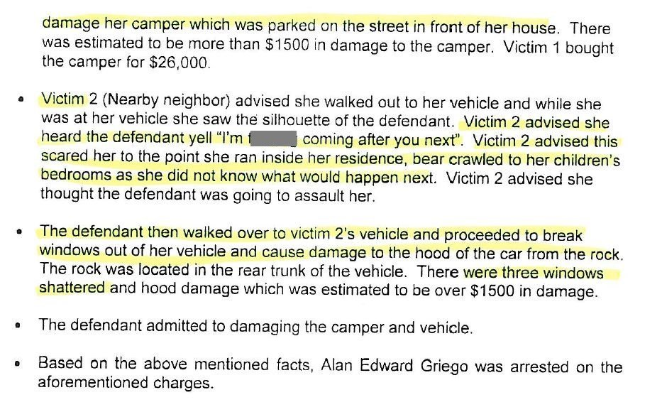 Court documents state that Griego admitted damaging the camper and the car.