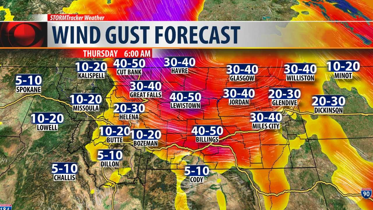 Wind gust forecast for 6am Thursday