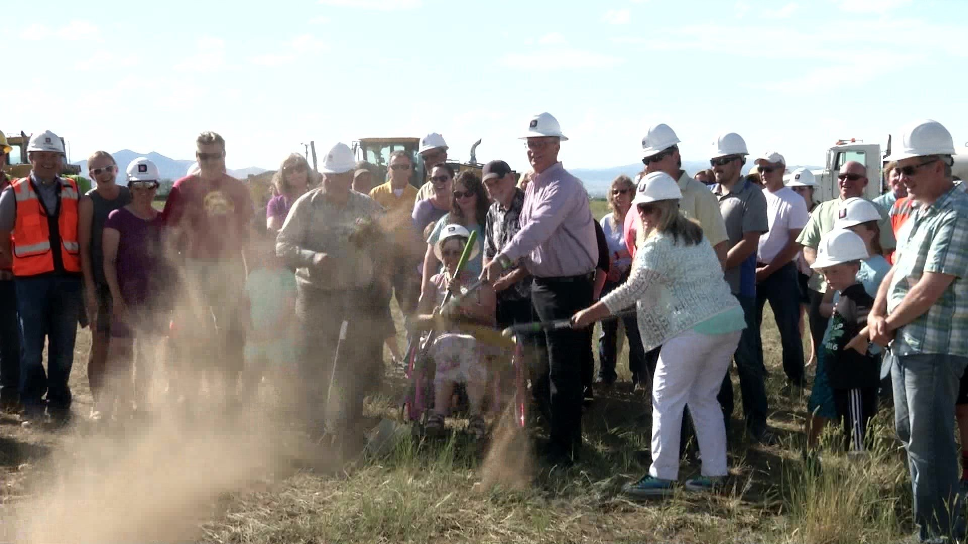 The East Helena School District hosted a ceremonial groundbreaking on Monday for a new school.