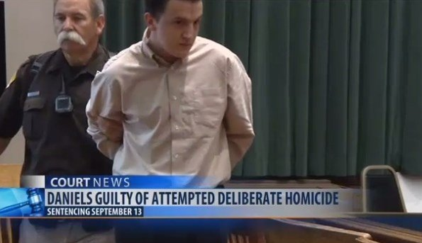 Kaleb Daniels was found guilty of attempted deliberate homicide