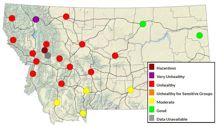 Montana DEQ Air Quality Map on Saturday, September 9, 2017