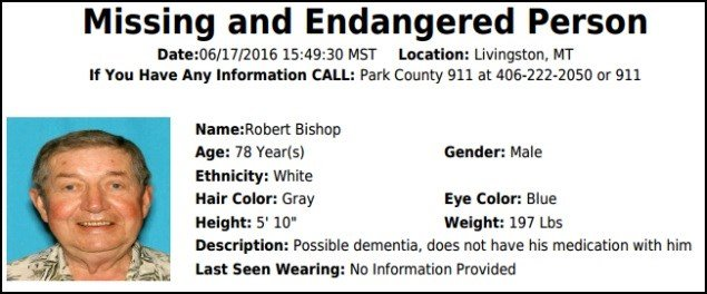 The Montana Department of Justice has issued a Missing/Endangered Person Advisory (MEPA) for Robert Lee Bishop