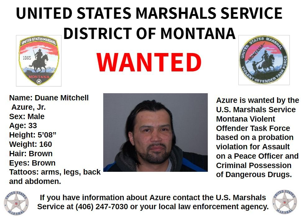 BOLO Alert - Wanted In Montana: Duane Mitchell Azure, Jr