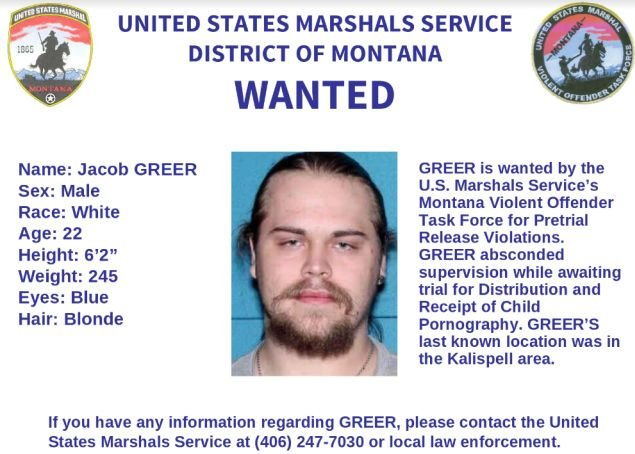 JACOB GREER - WANTED BY U.S. MARSHALS SERVICE