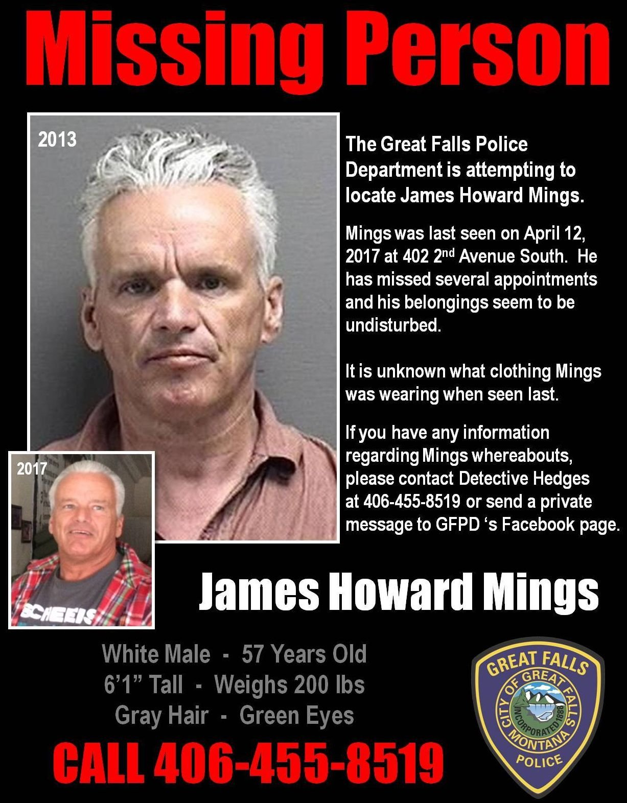 James Mings - Missing Person in Great Falls